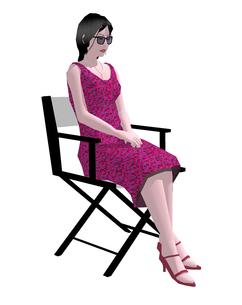 ディレクターチェアーに座る女性のイラスト素材 [FYI04134488]