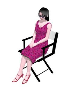 ディレクターチェアーに座る女性のイラスト素材 [FYI04134490]