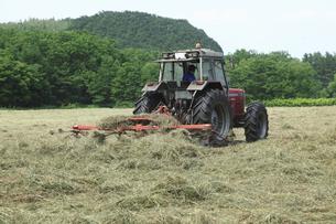 牧草地のトラクターの写真素材 [FYI04135491]
