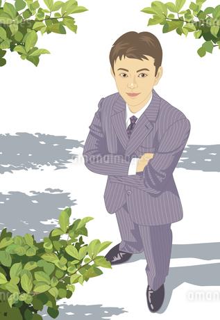 木の下で腕を組んでいる男性のイラスト素材 [FYI04136062]