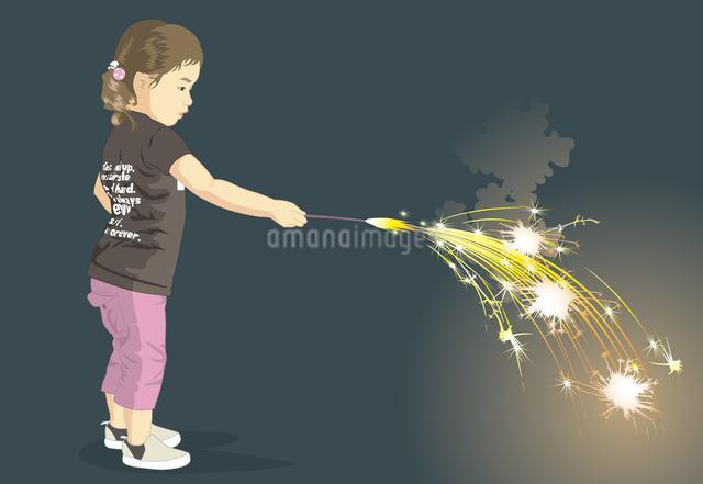 花火で遊ぶこどものイラスト素材 [FYI04136075]