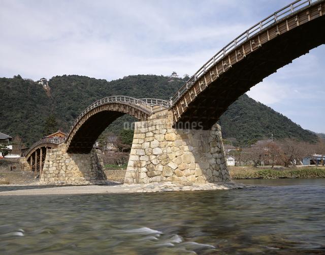 錦帯橋と岩国城の写真素材 [FYI04136500]