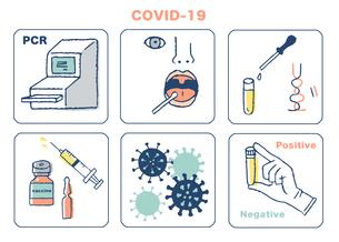 ウイルス検査イメージセットのイラスト素材 [FYI04139620]