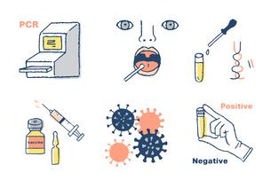 ウイルス検査イメージセットのイラスト素材 [FYI04139623]