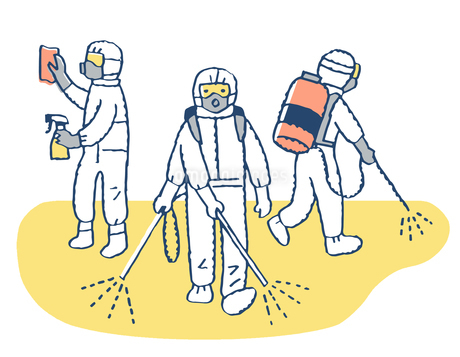 感染症対策イメージ 消毒作業をする人 のイラスト素材 [FYI04139642]