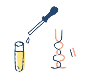 ウイルス検査イメージ 遺伝子と試験管のイラスト素材 [FYI04139646]