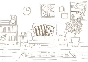 おしゃれな部屋茶色のイラスト素材 [FYI04141466]