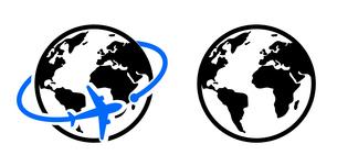 地球と飛行機のアイコン グローバルイメージのイラスト素材 [FYI04141829]