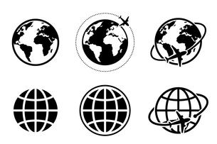 地球と飛行機のアイコン グローバルイメージのイラスト素材 [FYI04141831]