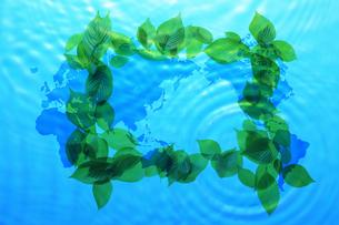 新緑と世界地図の写真素材 [FYI04143304]