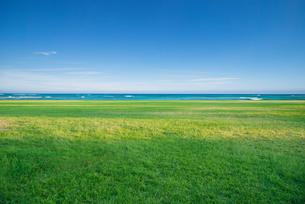 日差し差し込む草原と海と空の写真素材 [FYI04145201]