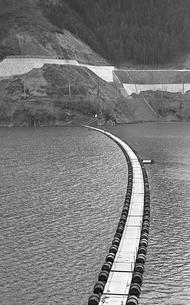 奥多摩湖に掛かるドラム缶の浮橋の写真素材 [FYI04145996]