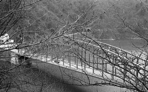 奥多摩湖に架かる峰谷橋の写真素材 [FYI04145997]