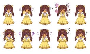 可愛い女の子キャラクターのSDイラストセットのイラスト素材 [FYI04149485]