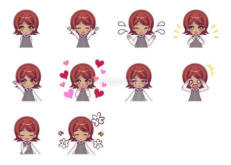 可愛い女の子キャラクターのSDイラストセットのイラスト素材 [FYI04149486]