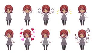 可愛い女の子キャラクターのSDイラストセットのイラスト素材 [FYI04149487]