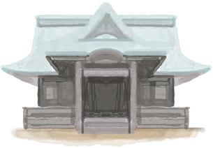 神社イラストレーション、イラスト、手描き、アナログ、水彩、絵具、絵の具、キャラクター、アイコン、神社のイラスト素材 [FYI04150110]