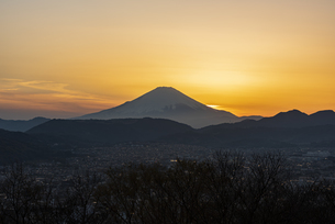 富士山と夕景 ①の写真素材 [FYI04153241]