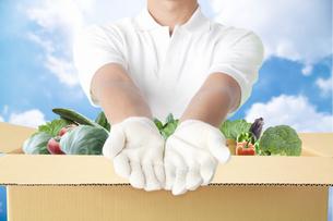 野菜をお届けする配達員の写真素材 [FYI04153910]