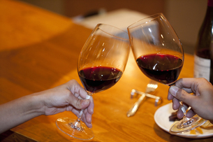 赤ワインで乾杯をするカップルの写真素材 [FYI04154654]