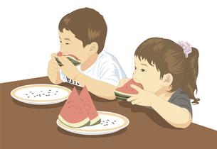スイカを食べる子供のイラスト素材 [FYI04161785]