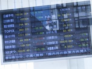 街頭の株式株価表示板の写真素材 [FYI04164357]