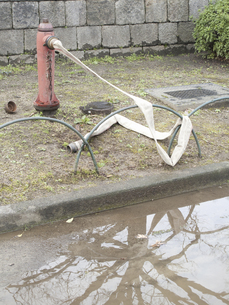 ホースのつながれた消火栓の写真素材 [FYI04165722]