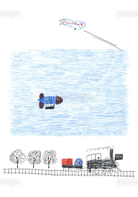 汽車と飛行機のイラスト素材 [FYI04171711]