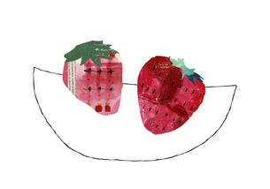 ピンクのコラージュの苺のイラスト素材 [FYI04171726]