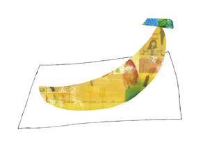 黄色いコラージュのバナナのイラスト素材 [FYI04171727]