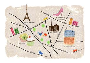 パリのお買い物マップのイラスト素材 [FYI04171749]