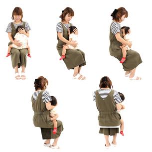 人物切り抜き添景素材 女性母親子供幼児女の子 座る 白バックの写真素材 [FYI04180499]