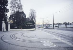 雪道のタイヤ跡の写真素材 [FYI04185143]