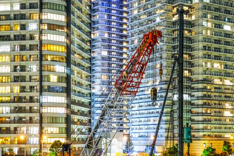 横浜・みなとみらいの工事現場の写真素材 [FYI04187055]