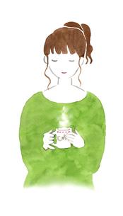 コーヒーカップを持つ女性のイラスト素材 [FYI04187217]