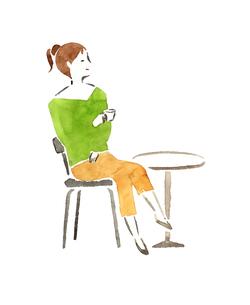 カフェの女性のイラスト素材 [FYI04187219]