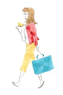 パンを抱えた女性のイラスト素材 [FYI04187225]