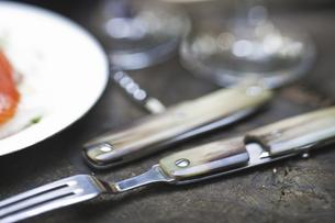アウトドア用のフォークとナイフの写真素材 [FYI04187815]