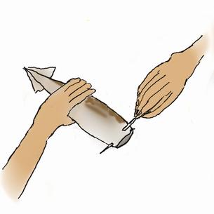 イカ飯を作る-3  ご飯と脚を詰めて楊枝で止めるのイラスト素材 [FYI04187892]