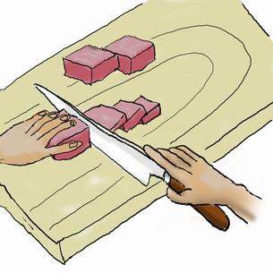 クッパを作る  肉を切り分けるのイラスト素材 [FYI04187897]