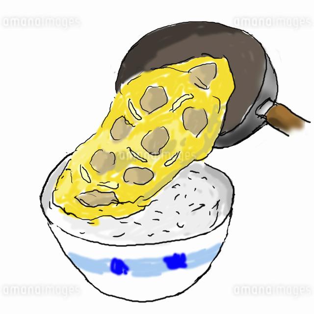 親子丼を作る-3  丼からよそうのイラスト素材 [FYI04187907]