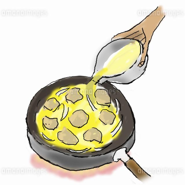 親子丼を作る-2  煮えたら卵を加えるのイラスト素材 [FYI04187909]