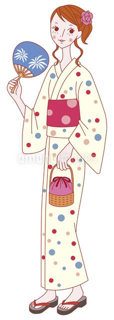 浴衣姿の女性のイラスト素材 [FYI04190050]