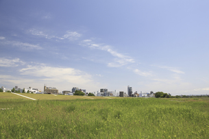 草原と町並の写真素材 [FYI04194725]
