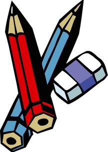 鉛筆と消しゴムのイラスト素材 [FYI04199831]