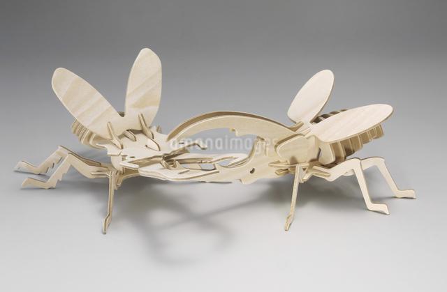 木製のカブトムシとクワガタの写真素材 [FYI04200593]