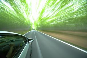 新緑の中を走るハイブリッドカーの写真素材 [FYI04203000]