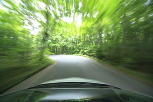 新緑の中を走るハイブリッドカーの写真素材 [FYI04203002]