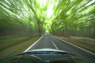 新緑の中を走るハイブリッドカーの写真素材 [FYI04203003]