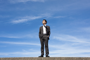 青空とビジネスマンの写真素材 [FYI04208744]